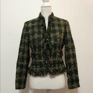 Allen by Allen Schwartz Green Tweed Blazer /Jacket